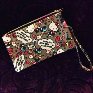 Hello Kitty Wristlet Gray Double Compartments Zip